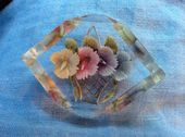 A Reverse Carved Lucite Brooch - 1940s - 1950s - Basket of Flowers